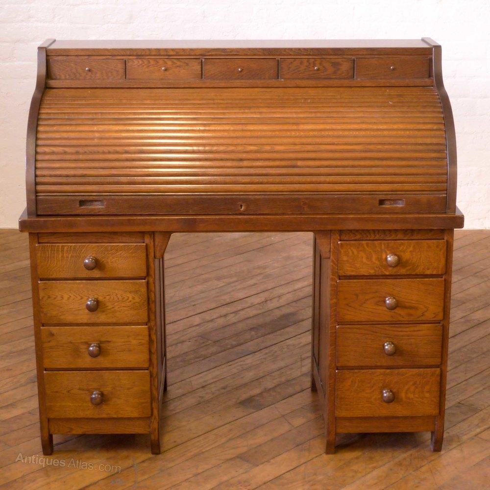 Art Deco Oak Roll Top Desk