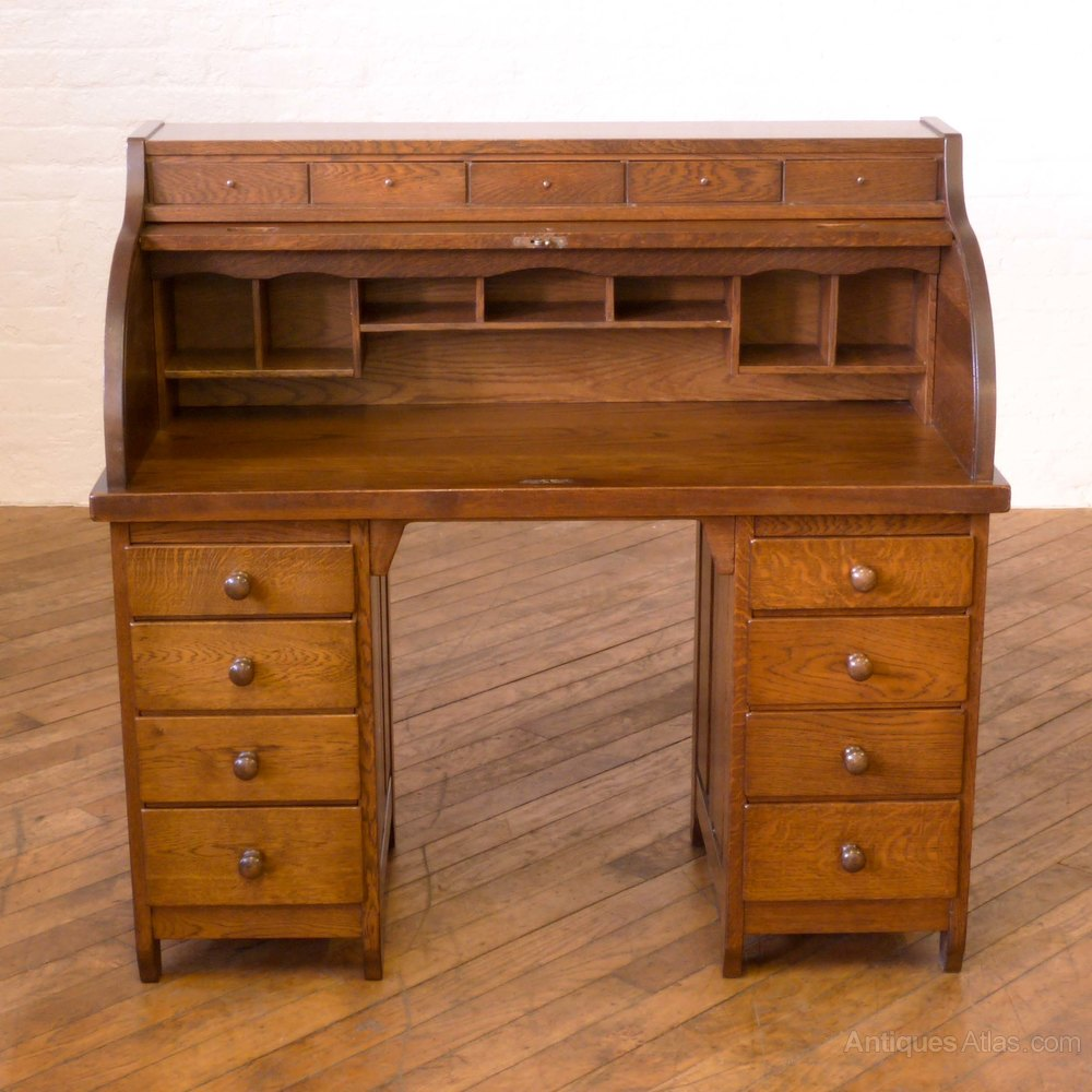 Peachy Art Deco Oak Roll Top Desk Antiques Atlas Interior Design Ideas Clesiryabchikinfo