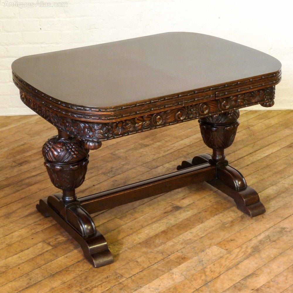 Carved Oak Drawleaf Table Antique ...
