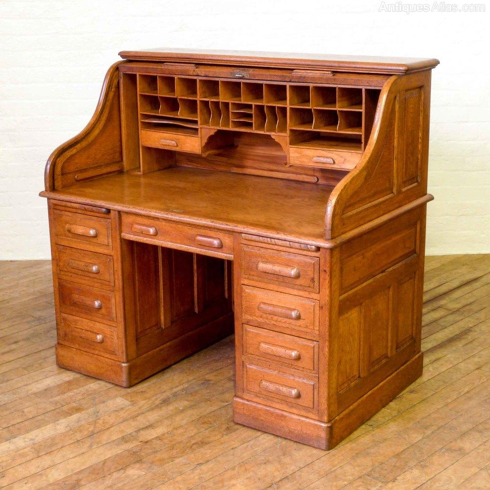 Desks Edwardian Oak Roll Top