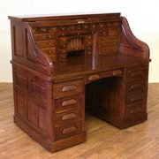 Antiques Edwardian Oak Roll Top Desk