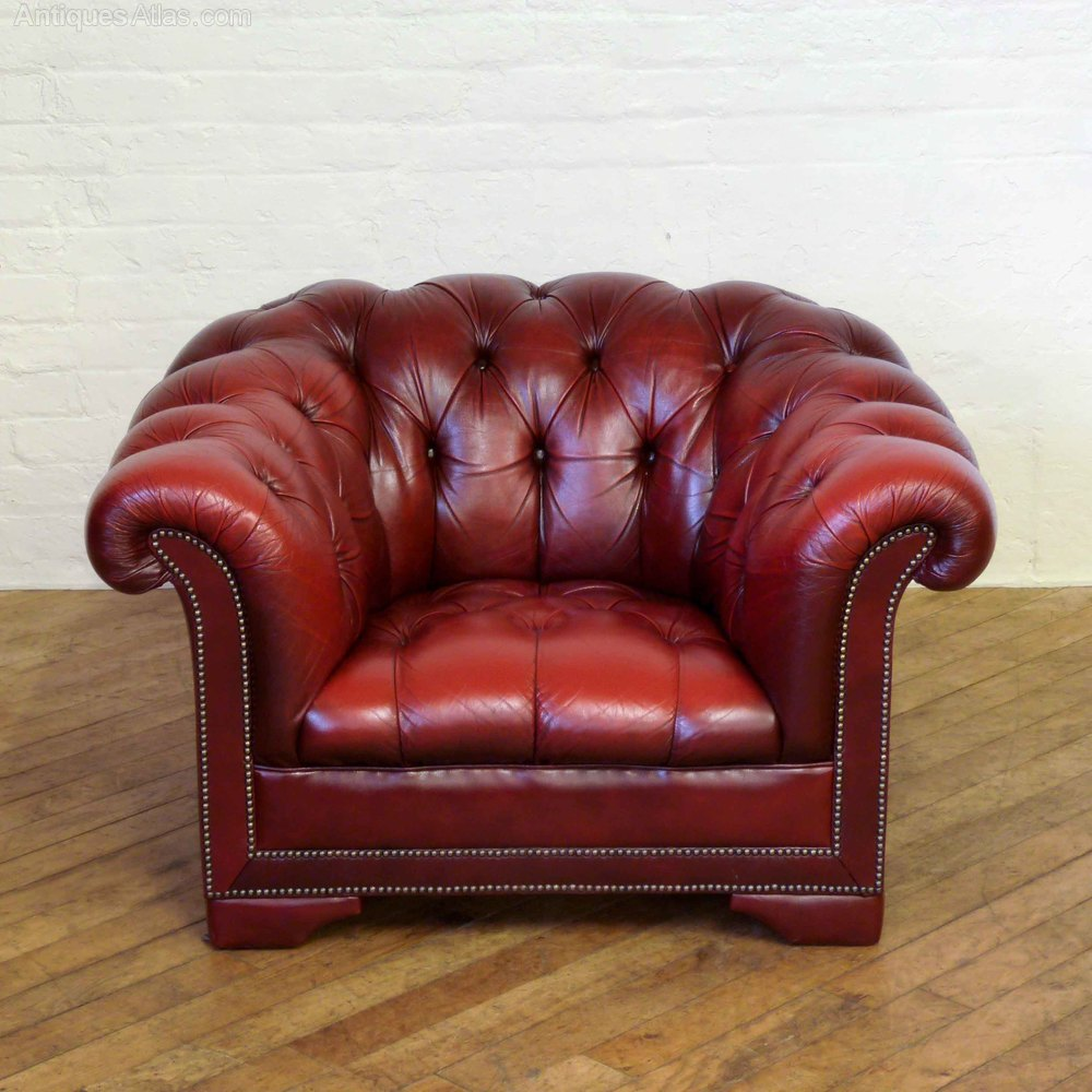 Red Leather Chesterfield Club Armchair Vintage ... - Antiques Atlas - Red Leather Chesterfield Club Armchair
