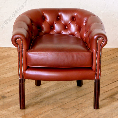 Red Leather Tub Chair Vintage Tub Chairs ... - Antiques Atlas - Red Leather Tub Chair