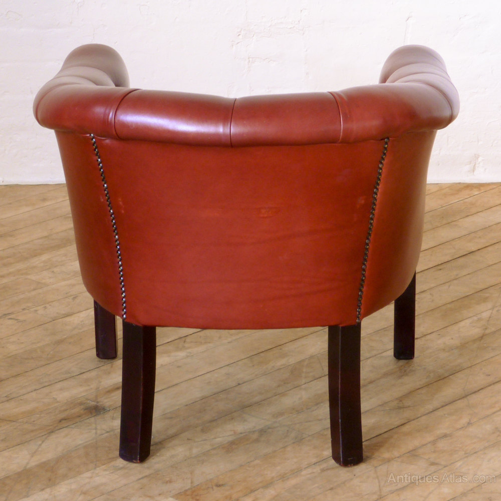Red Leather Tub Chair Vintage Chairs Alt5 Alt6