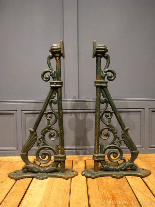 Cast Iron Gothic Trestle Shelf Brackets Pair