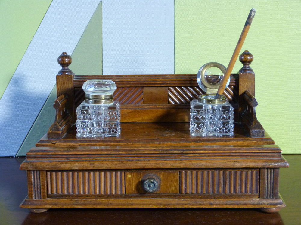 Edwardian Desk Stand With Inkwells Antique