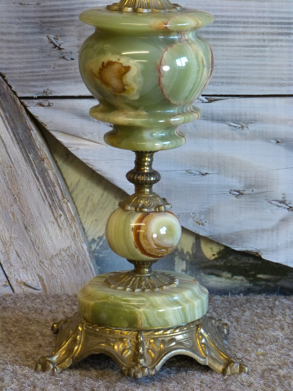 Antiques Atlas - Green Onyx Tall Table Lamp