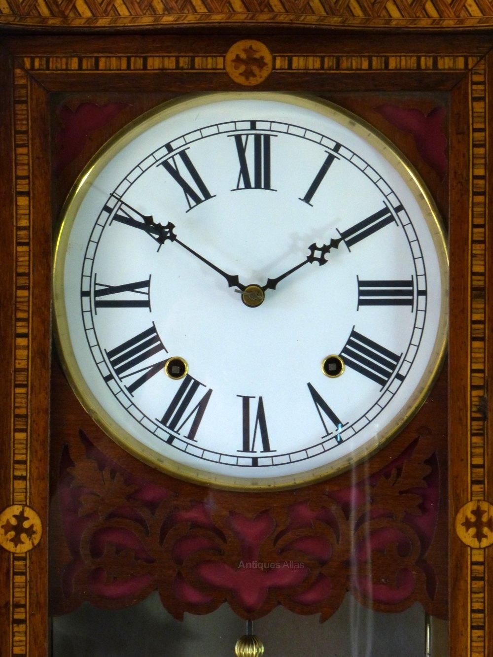 Antiques Atlas - Superb Antique Inlaid Walnut Drop Dial Wall Clock