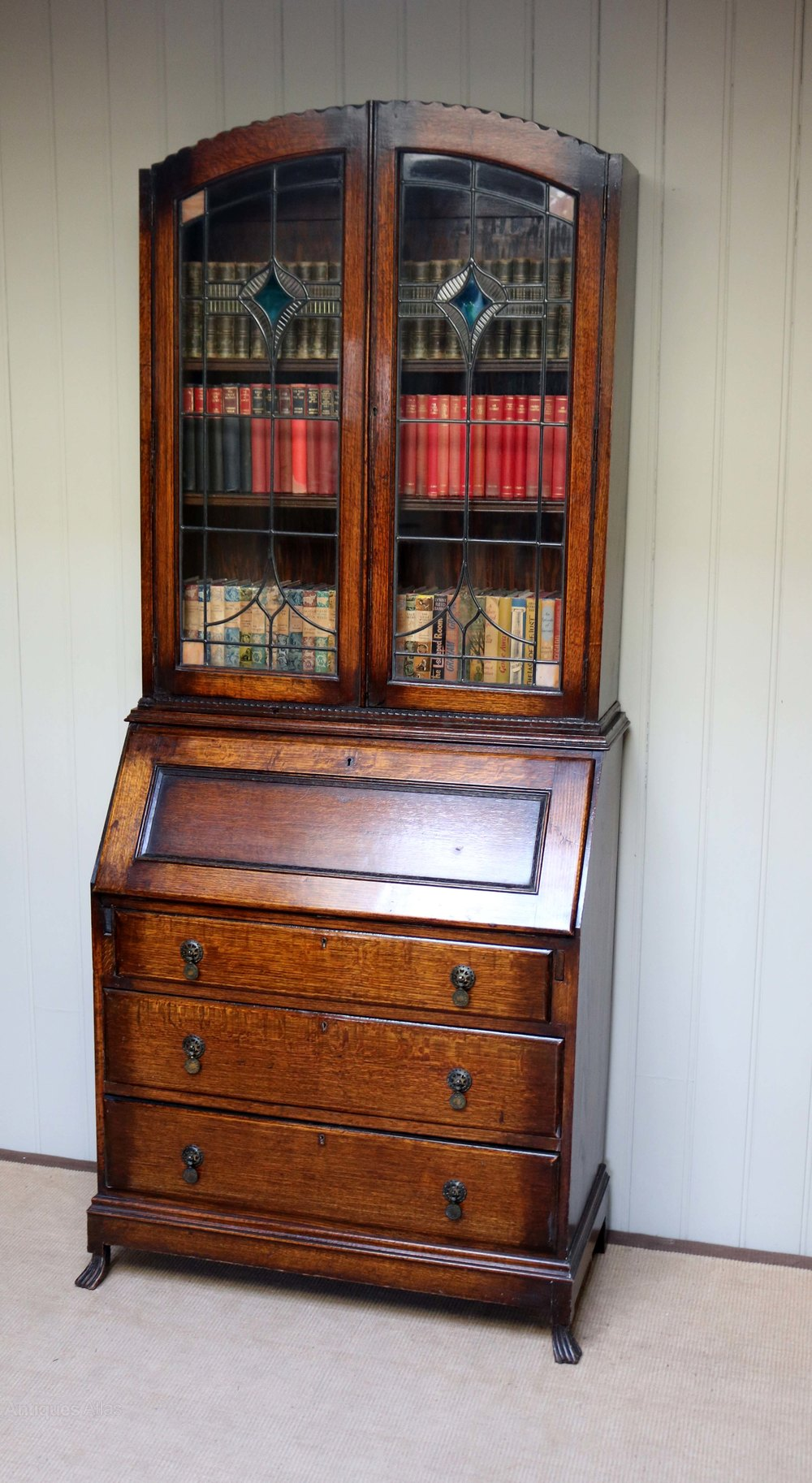 Antique Bookcase Bureau In Oak Late Victorian Early 20th Centrury Nice Condition High Quality Edwardian (1901-1910)