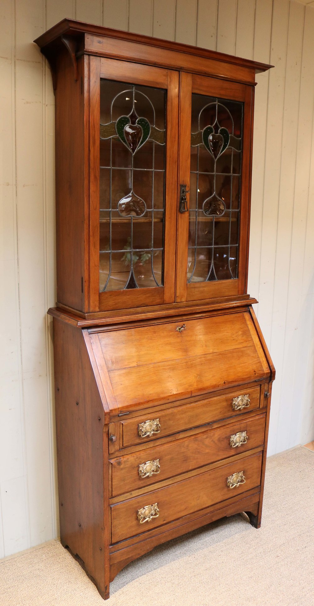 Arts and crafts walnut bureau bookcase antiques atlas for Arts and crafts bookshelf