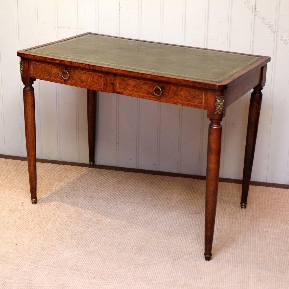 Burr Maple Leather Top Writing Desk Antique Desks Alt5