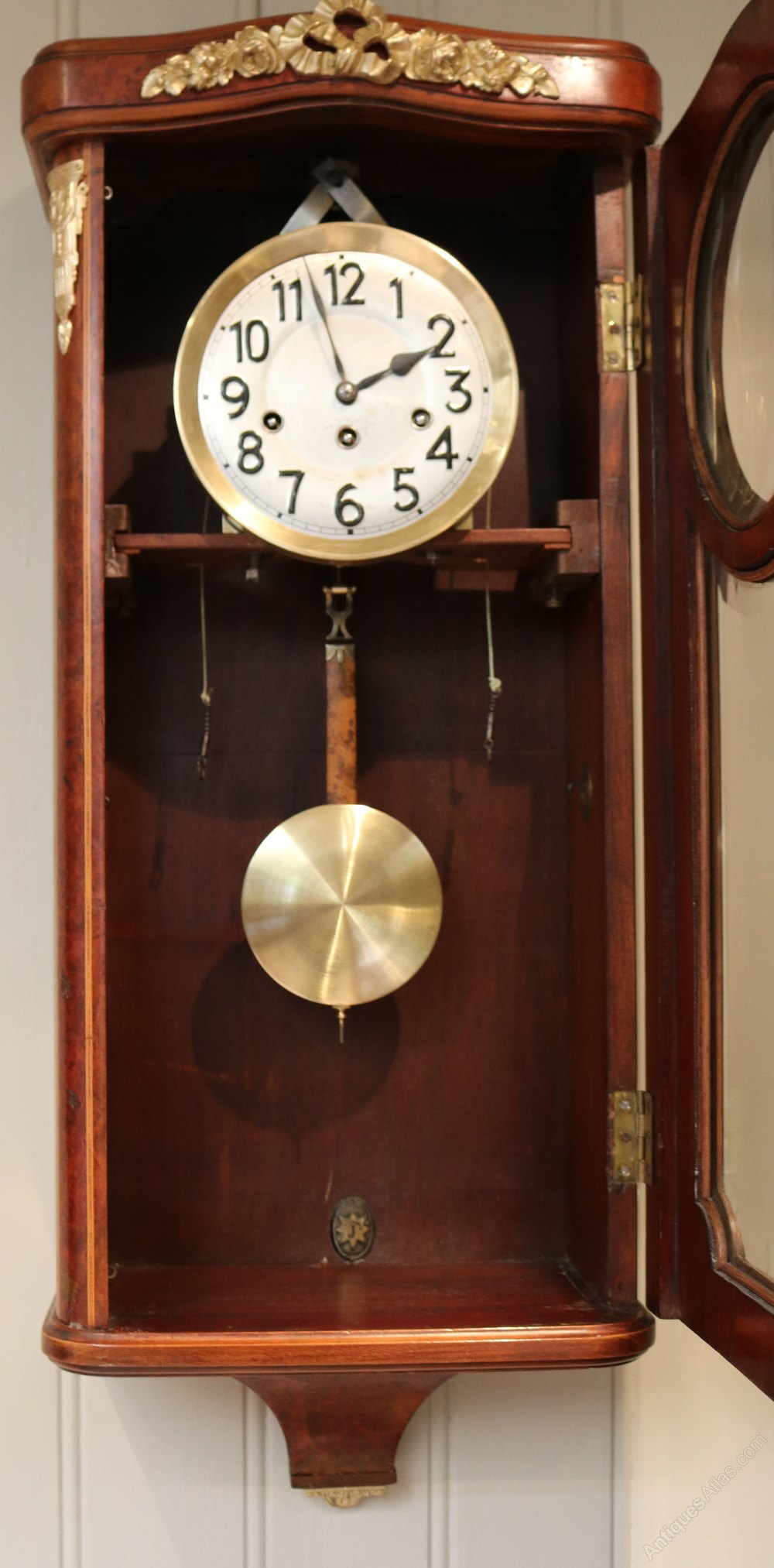 f757575a49c Antiques Atlas - Burr Maple Westminster Chime Wall Clock (Germany)
