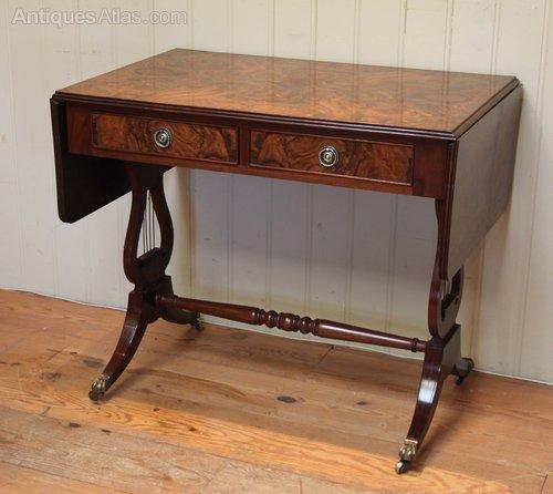 Burr Walnut Drop Leaf Sofa Table
