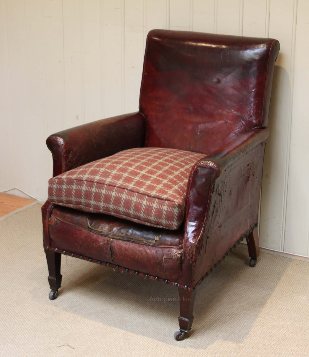 Edwardian Leather Library Chair Antique Library Chairs - Edwardian Leather Library Chair - Antiques Atlas