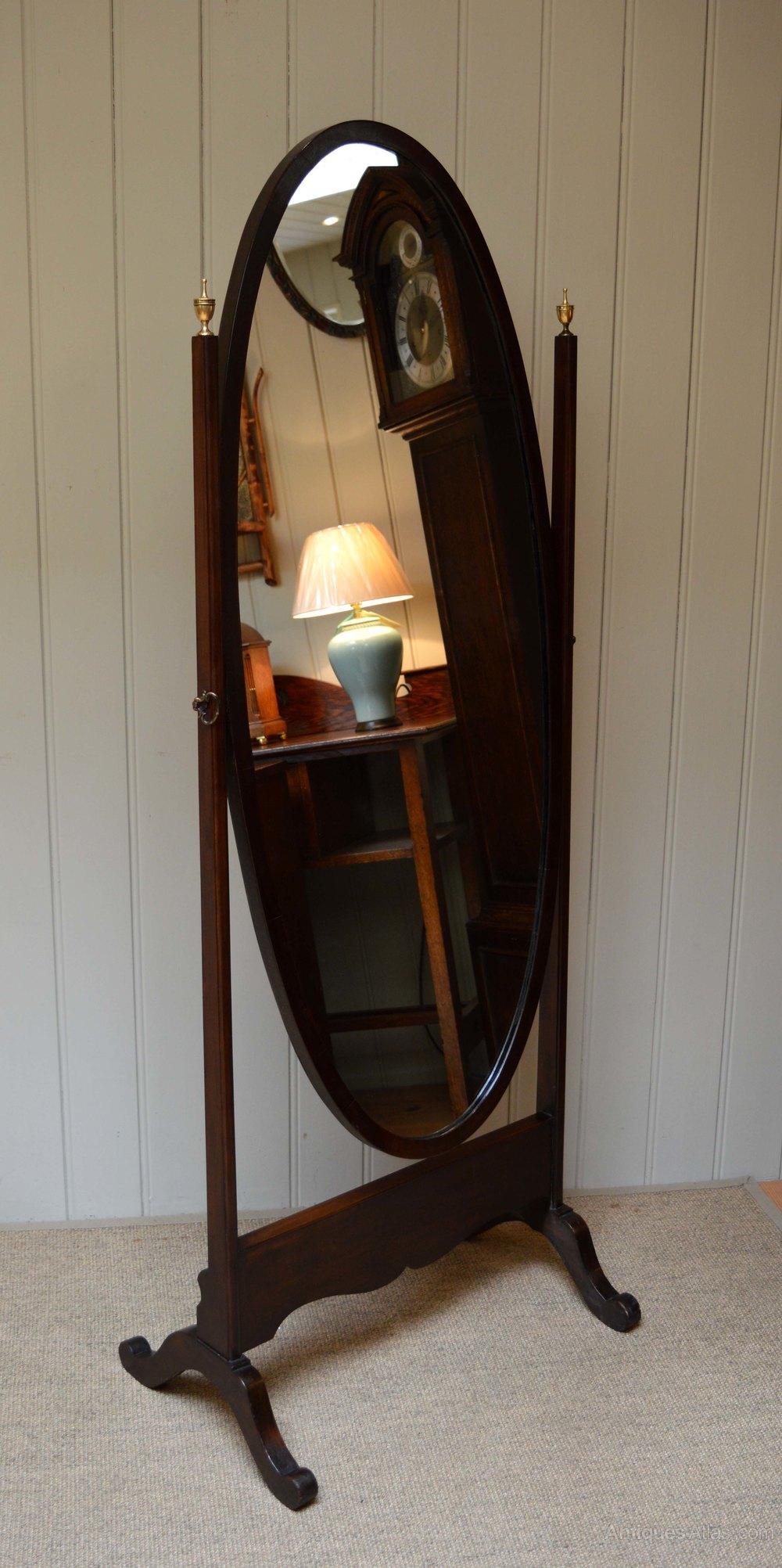 Antiques Atlas Edwardian Oval Mahogany Cheval Mirror