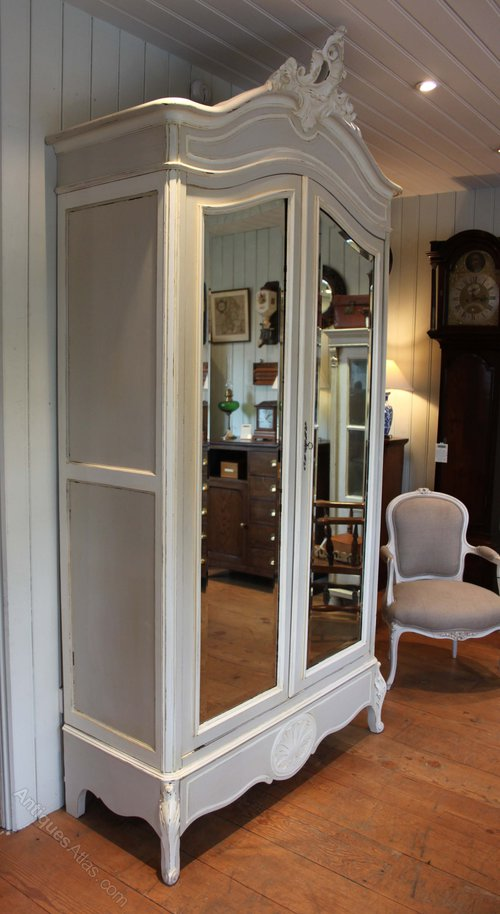French Painted Mirrored Two Door Armoire