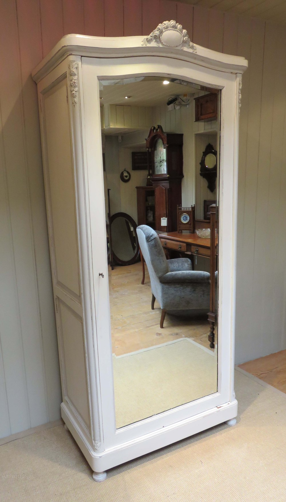 Superieur Photos. French Painted Single Mirrored Door Armoire ...