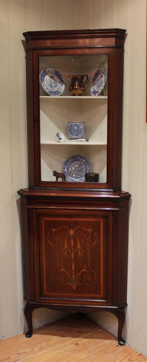 Inlaid Mahogany Corner Display Cabinet - Inlaid Mahogany Corner Display Cabinet - Antiques Atlas