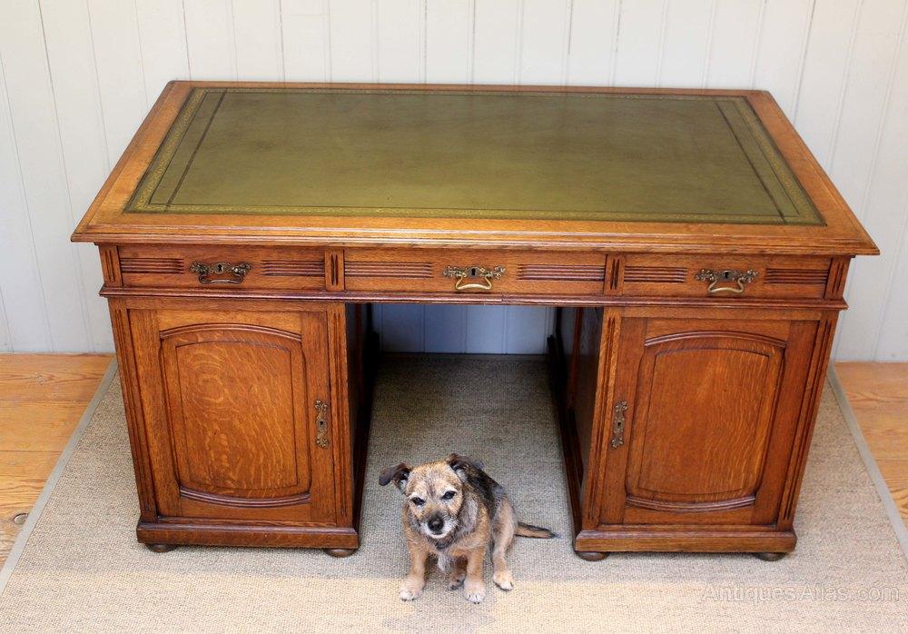 Large French Solid Oak Partners Desk Antique Desks Alt5