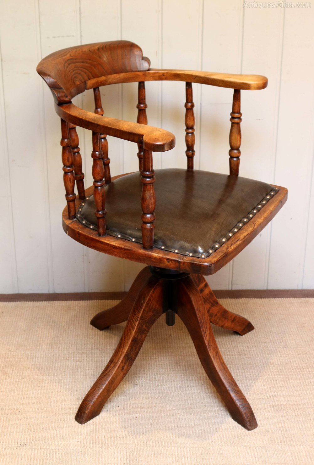 Oak And Leather Office Chair Antiques Atlas