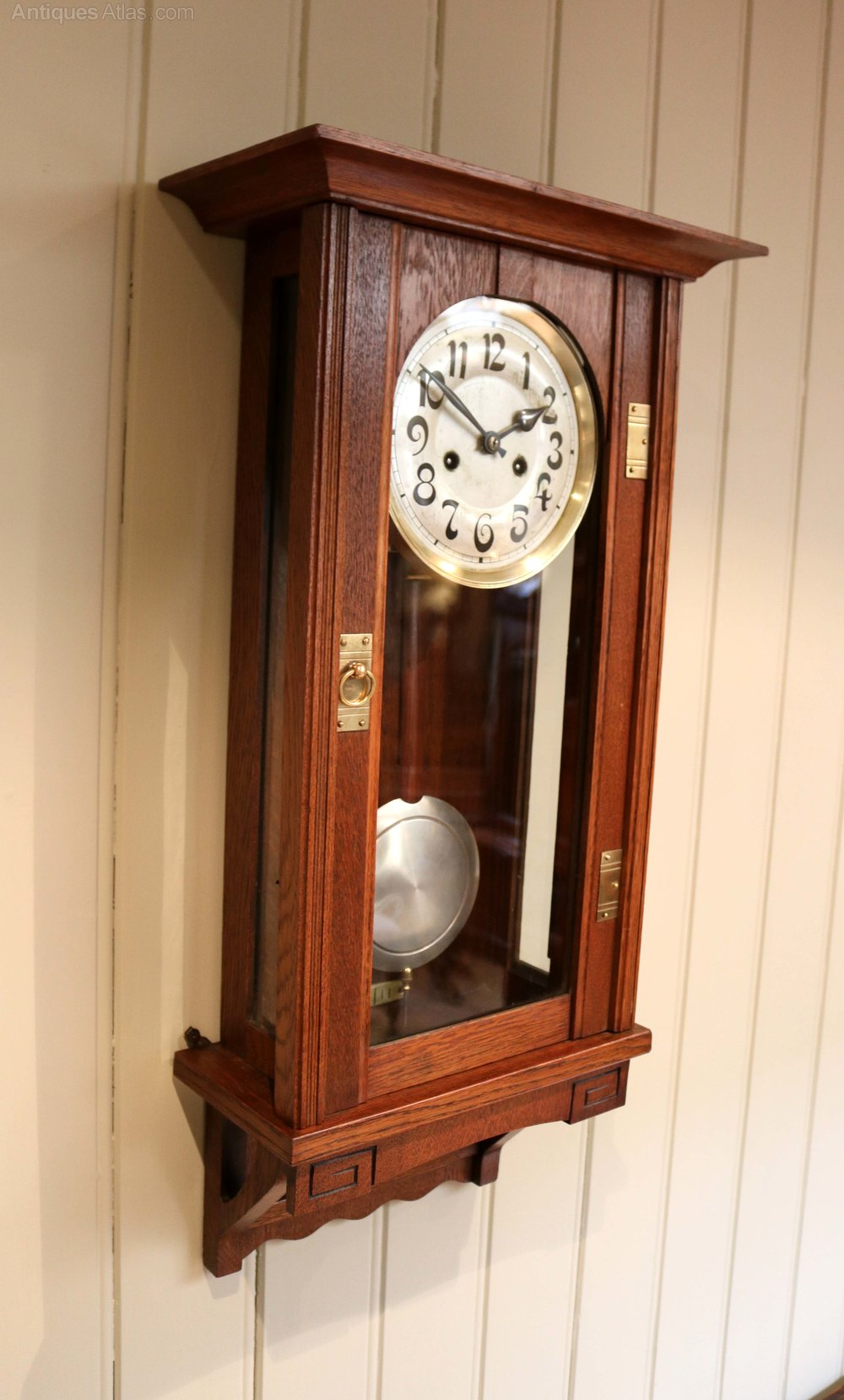 Antiques atlas oak arts and crafts striking wall clock for Arts and crafts style wall clock