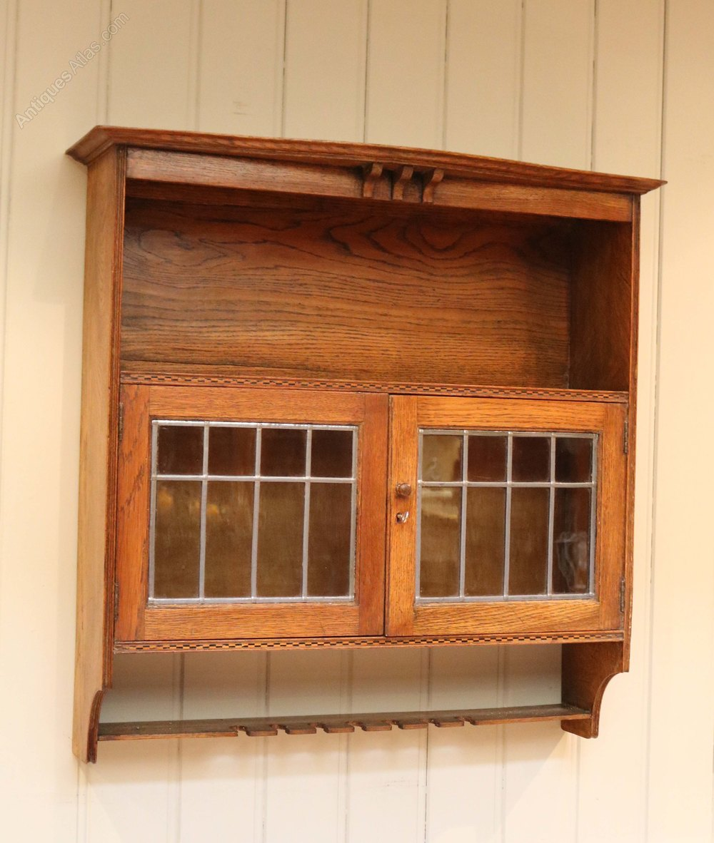 Oak arts and crafts wall cabinet antiques atlas for Kitchen cabinets 50cm wide