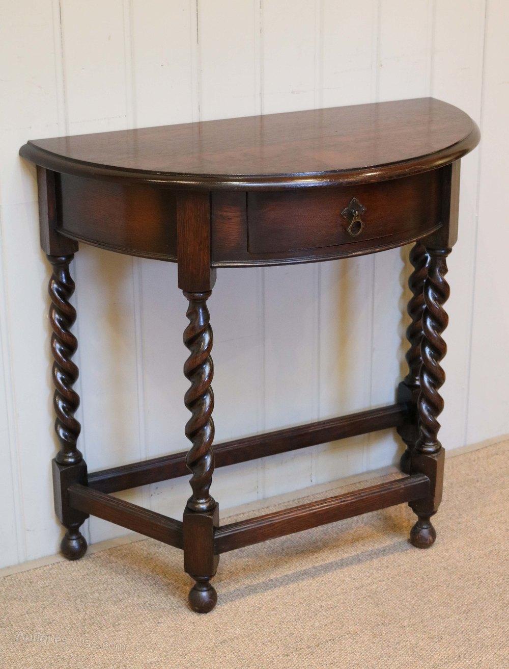 Oak Demi Lune Table