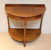 ... Antiques And Clocks · Oak Demi Lune Table