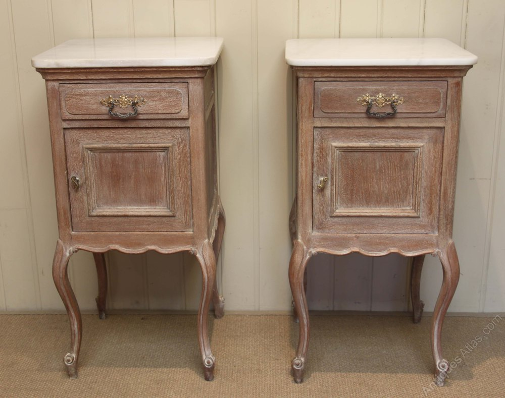 Pair Of French Limed Oak Bedside Cabinets