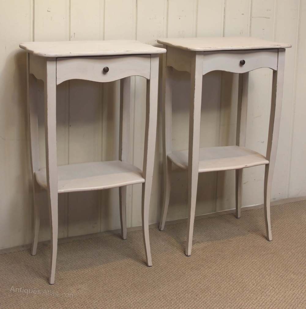 Pair Of Slim Painted Bedside Cabinets