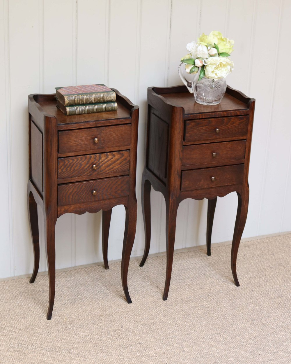 Pair of small proportioned oak bedside cabinets antiques for Kitchen cabinets 50cm wide