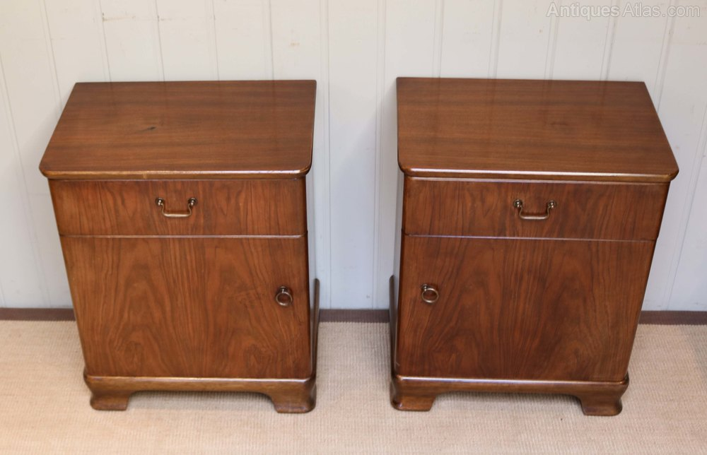 Pair Of Walnut Bedside Cabinets Vintage And Retro