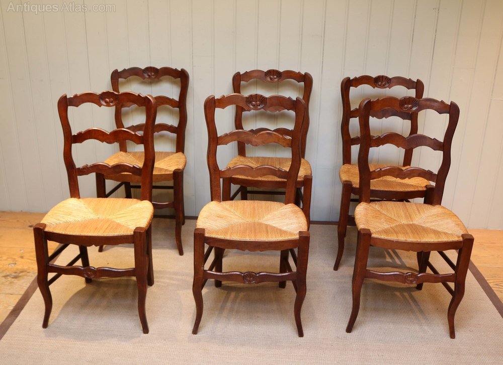 Set of six beech wood dining chairs antiques atlas