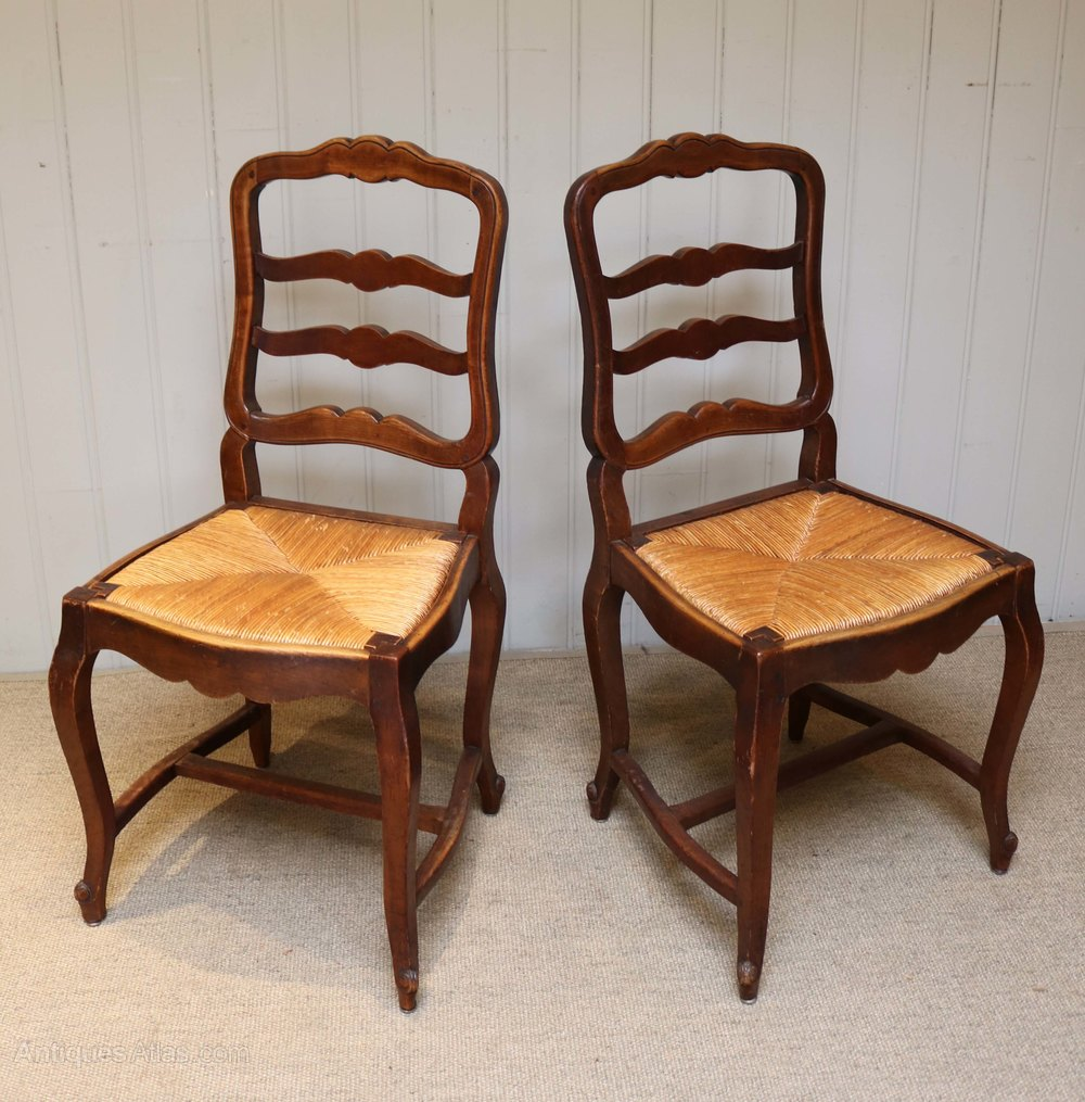 Cherry Wood Dining Room Furniture: Set Of Six French Cherry Wood Dining Chairs
