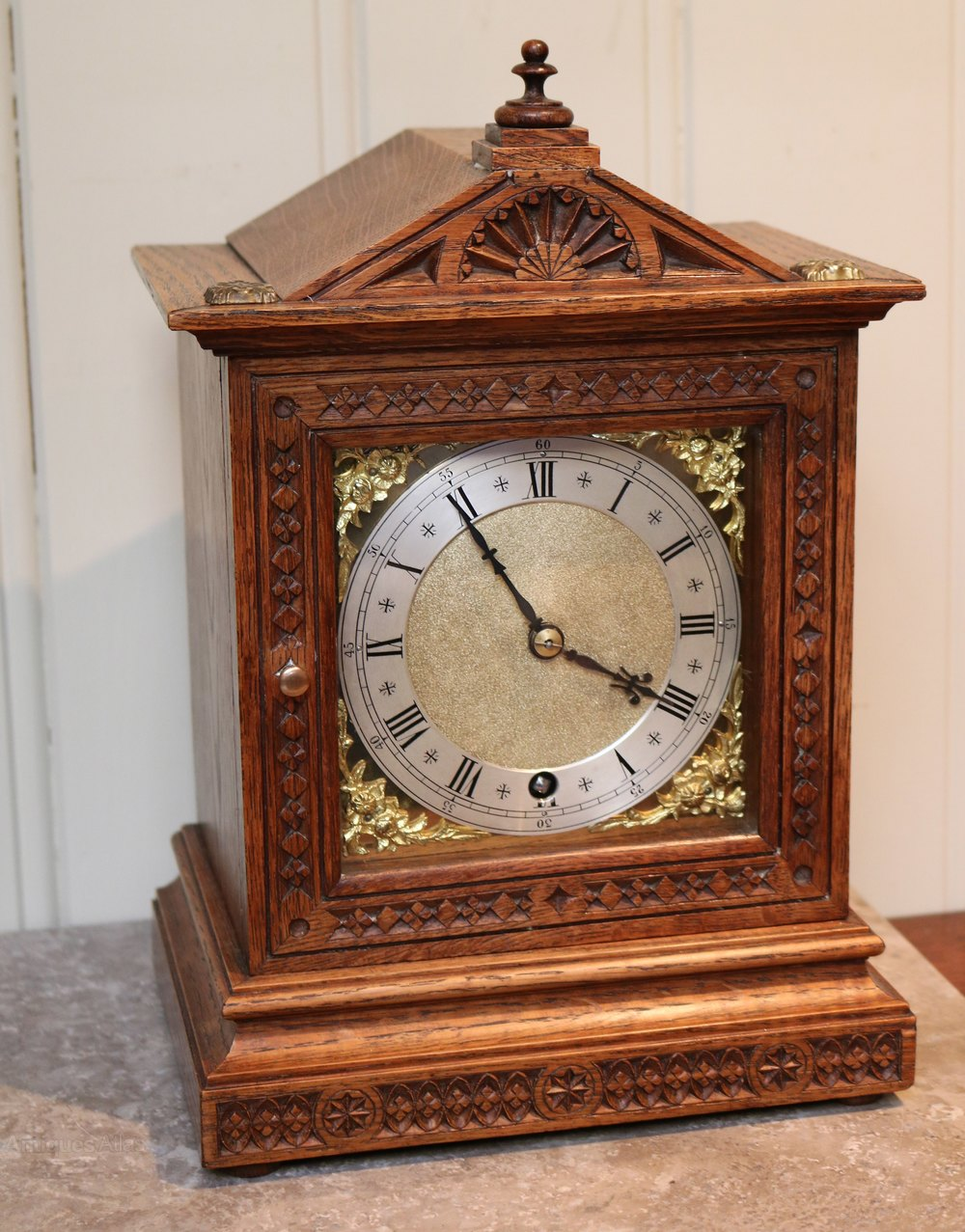 Antiques Atlas - Small Oak Mantel Clock (Germany, C. 1890)