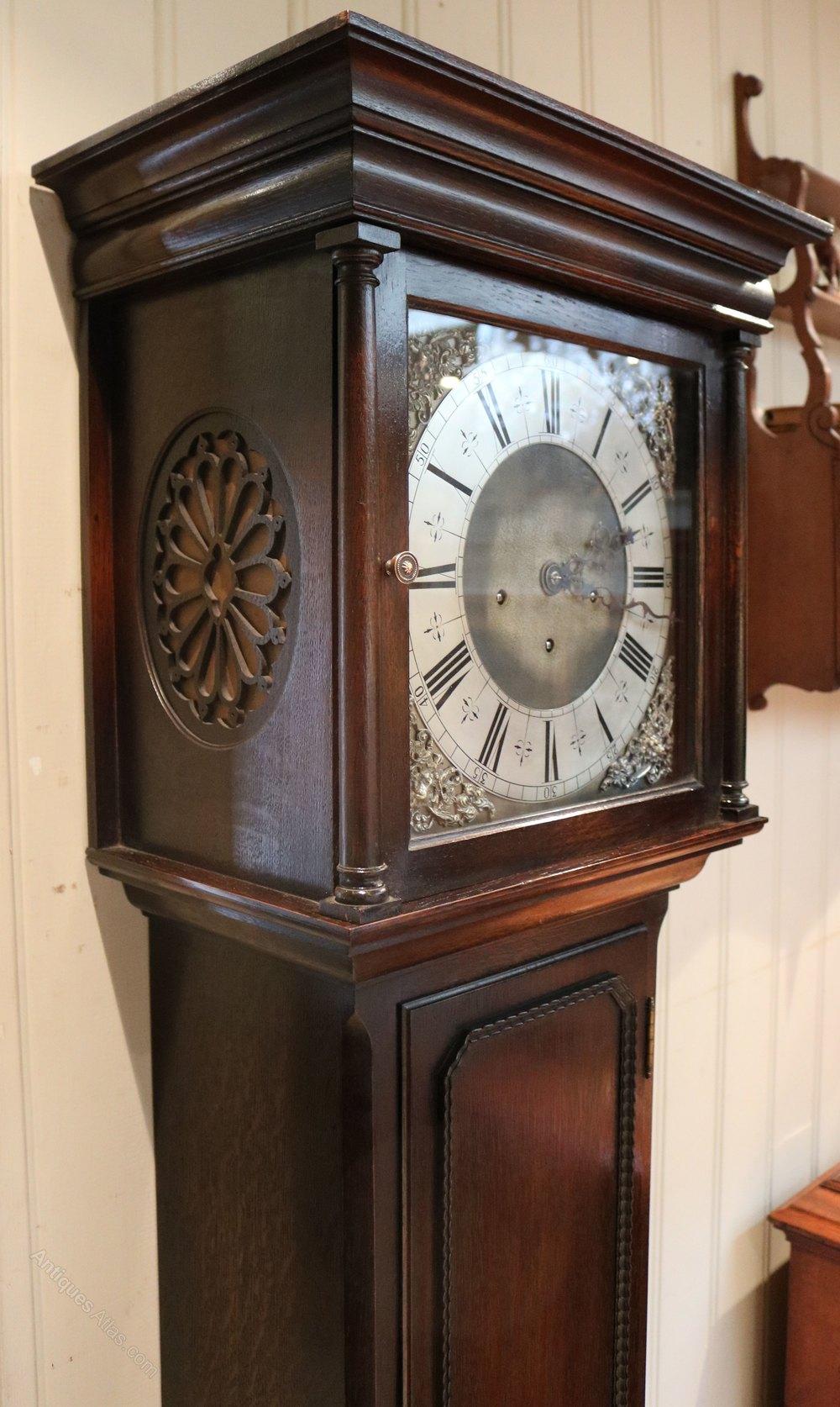 3798842127f Photos. Small Oak Westminster Chime Longcase Clock (England) Antique  Grandfather ...