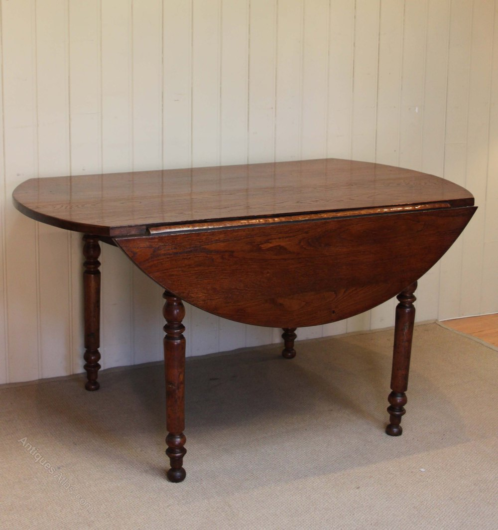 Solid Oak Drop Leaf Round Table Antiques Atlas