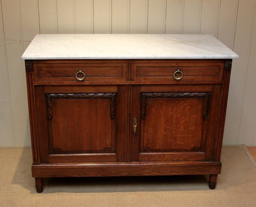 Solid Oak Marble Top Side Cabinet Antique ... - Solid Oak Marble Top Side Cabinet - Antiques Atlas