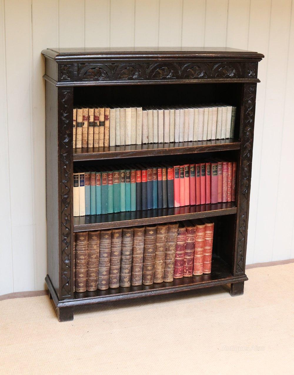 Victorian Dark Oak Rustic Open Bookcase Antiques Atlas