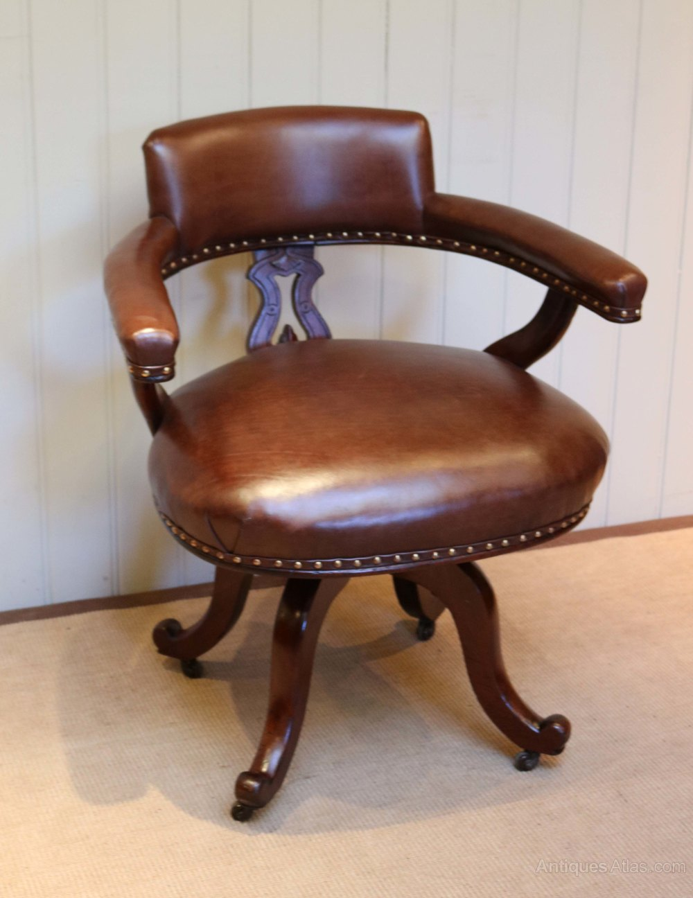 antique leather chair mahogany and leather desk chair antiques atlas 1287