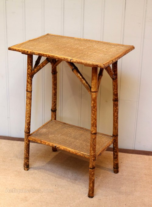 Edwardian Mahogany Faux Bamboo Two Tier Tripod Table Antiques