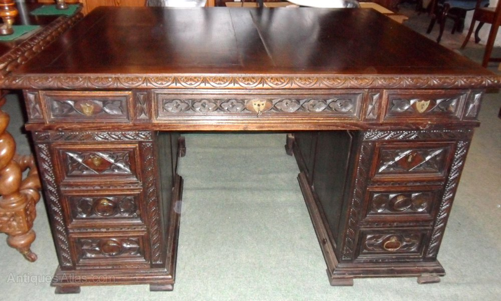 Antique French Pedestal Desk ... - Antique French Pedestal Desk - Antiques Atlas