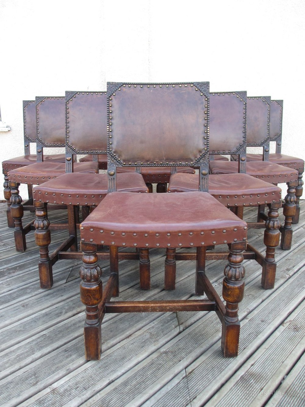 10 Carved Oak And Leather Studded Dining Chairs ...
