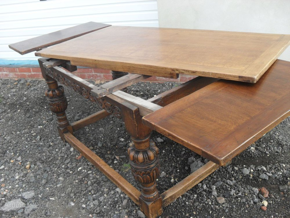 Charmant 17th Century Style Solid Oak Draw Leaf Dining Table Antique Extending  Dining Tables