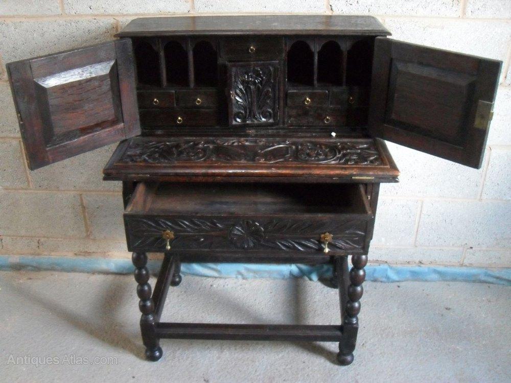 Century Carved Oak Fold Out Writing Desk Antique Desks