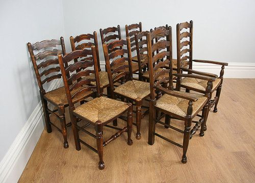 10 Ash U0026 Oak Ladder Back Kitchen Chairs (c.1900)