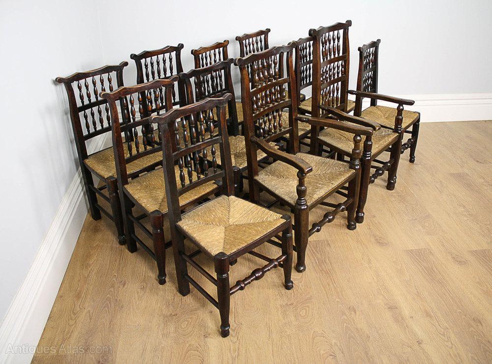 ... Antique Spindle Back Chairs ... - 12 Ash & Elm Spindle Back Kitchen Chairs (c.1800) - Antiques Atlas