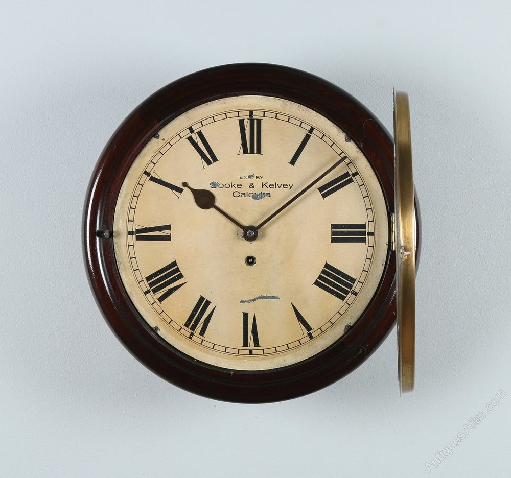Antiques atlas 16 mahogany cooke kelvey wall clock timepiece antique station wall clocks amipublicfo Image collections