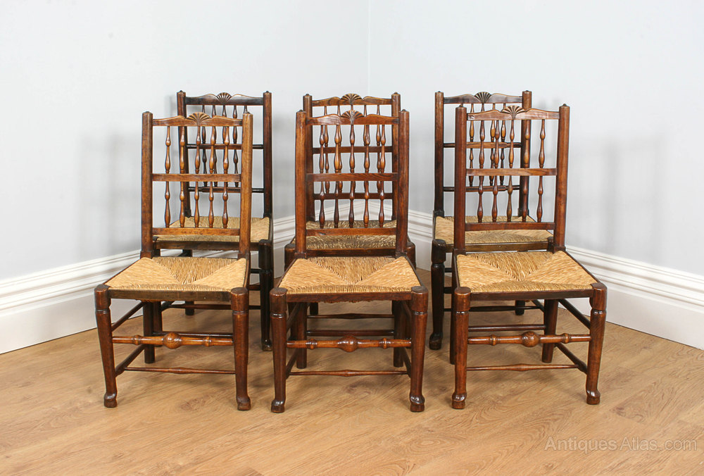 6 Full Age Elm Spindle Back Rush Seat Chairs Set of 6 Antique Dining Chairs  ... - 6 Full Age Elm Spindle Back Rush Seat Chairs - Antiques Atlas