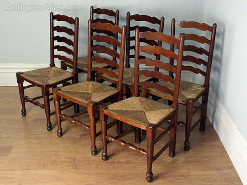 pretty nice e330a 65888 6 Oak Ladder Back Farmhouse Dining Chairs - Antiques Atlas